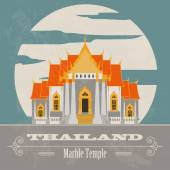 Thailand landmarks Retro styled image Vector illustration