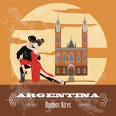 Argentina landmarks Retro styled image Vector illustration