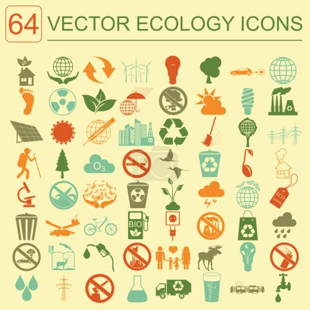 Illustration for Environment, ecology icon set. Environmental risks, ecosystem. Vector illustration - Royalty Free Image
