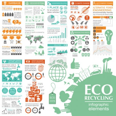 Illustration for Environment, ecology infographic elements. Environmental risks, ecosystem. Template. Vector illustration - Royalty Free Image
