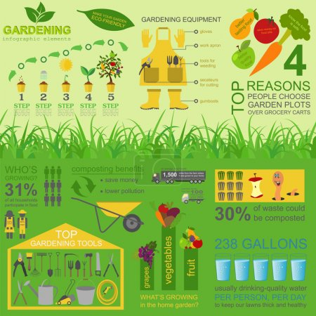 Illustration for Garden work infographic elements. Working tools set. Vector illustration - Royalty Free Image