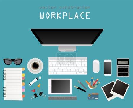 Photo pour Lieu de travail dans le design plat. Constructeur de votre propre espace de travail. Illustration vectorielle - image libre de droit