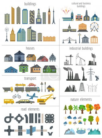 Illustration for City map generator. Elements for creating your perfect city. Colour version. Vector illustration - Royalty Free Image