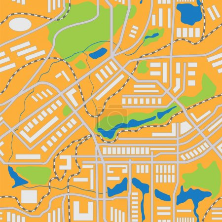 Illustration for City map seamless pattern. Vector illustration - Royalty Free Image