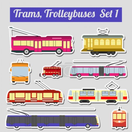 Set of elements trams and trolleybuses for creatin...