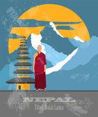 Nepal landmarks Retro styled image