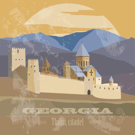 Georgia landmarks. Retro styled image