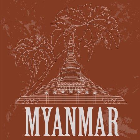 Myanmar (Burma)  landmarks. Retro styled image