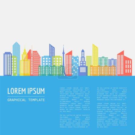 Paysage urbain modèle graphique. architecture de la ville moderne. Vector ill