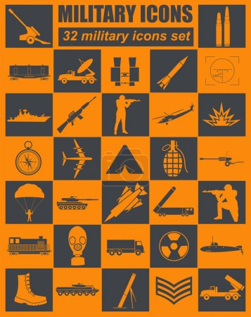 Military icon set. Constructor, kit