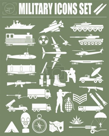 Military icon set. Constructor, kit.