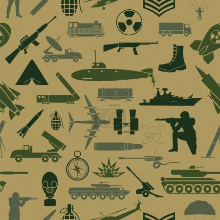 Military background. Seamless pattern. Military elements, armore