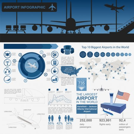 Airport, air travel infographic with design elements. Infographi