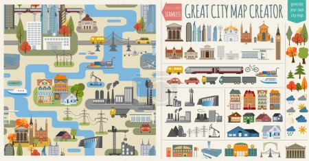 Photo for Great city map creator.Seamless pattern map and  Houses, infrastructure, industrial, transport, village and countryside set. Make your perfect city. Vector illustration - Royalty Free Image