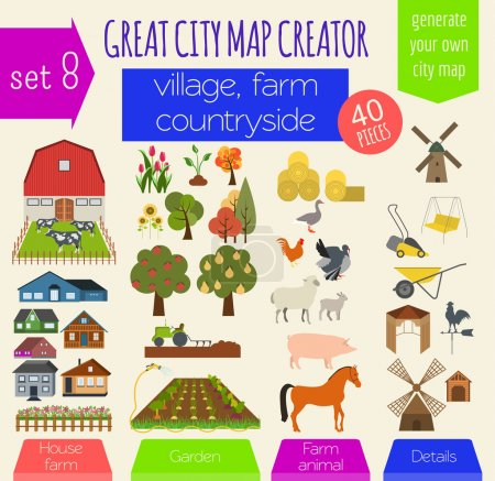 Illustration for Great city map creator. House constructor. House, cafe, restaurant, shop, infrastructure, industrial, transport, village and countryside. Make your perfect city. Vector illustration - Royalty Free Image