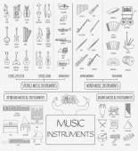 Musical instruments graphic template All types of musical instr