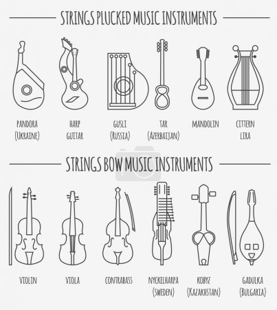 Musical instruments graphic template. Strings plucked and bow