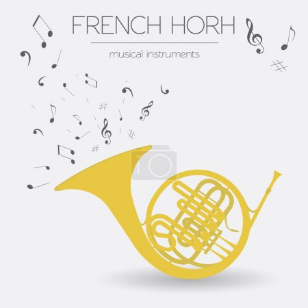 Illustration for Musical instruments graphic template. French horn. Vector illustration - Royalty Free Image