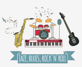 Musical instruments graphic templateJazz blues rock`n`roll ba