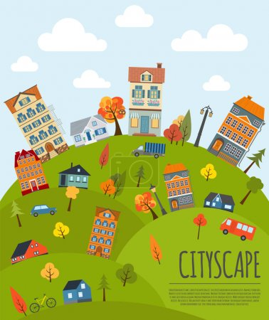 Cityscape conceptual graphic template. Urban, countryside, indus
