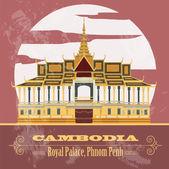 Cambodia landmarks Royal Palace Phnom Penh Retro styled image