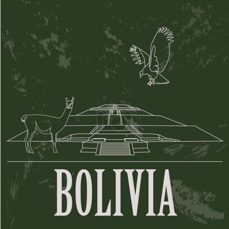 Illustration pour Repères en Bolivie. Image de style rétro. Illustration vectorielle - image libre de droit