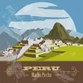 Peru  landmarks. Retro styled image.