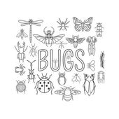 Insects icon flat style 24 pieces in set Outline version Vector illustration