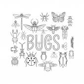 Insects icon flat style 24 pieces in set Outline version