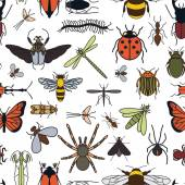 Insects seamless pattern 24 pieces in set