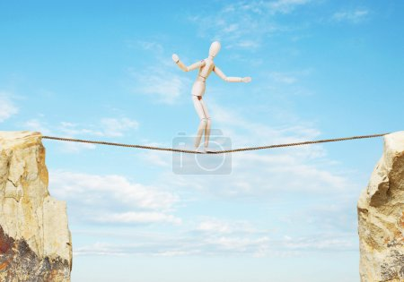 Ropewalker goes over the precipice