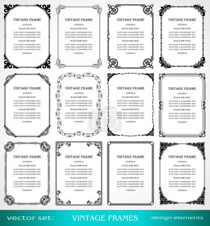 Illustration for Vintage frames and borders set, calligraphic, victorian, art ornamental photo frames, retro design elements and page decoration, decor for old style books, greetings and invitations - Royalty Free Image