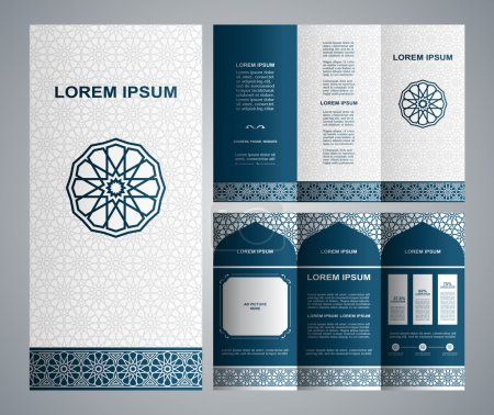 Illustration pour Brochure de style islamique vintage et modèle de conception de flyer avec logo, éléments d'art créatifs et ornement, mises en page, couleurs bleu et blanc classiques et solutions artistiques pour la conception et la décoration - image libre de droit