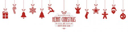 christmas ornaments hanging red isolated background