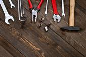 tools on a wooden background
