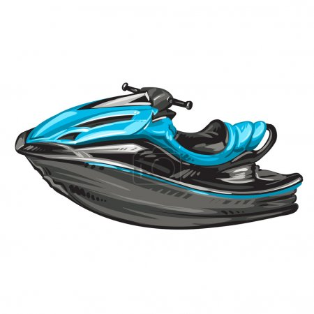 Jet boat, scooter on white background