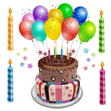 Illustration pour Gâteau d'anniversaire décoré avec ballons - image libre de droit