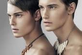 Handsome adult men in necklaces