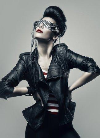 brunette woman in creative sunglasses