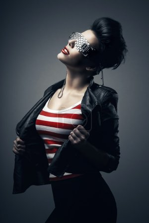 Woman in creative glasses