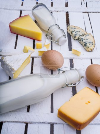 Different kinds of cheese and milk