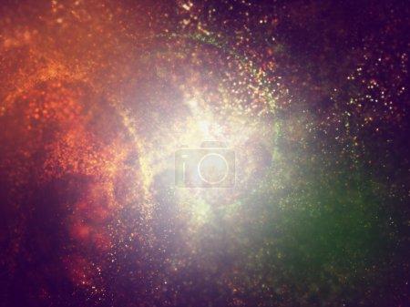 Foto de Tres colores azafrán, blancas y verdes las partículas haciendo fondo para diseño web y folleto, - Imagen libre de derechos