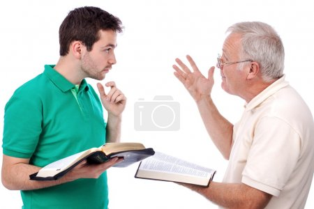 Old man sharing Gospel