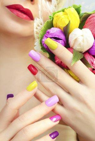 Colorful manicure bouquet .