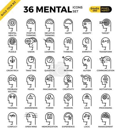 Illustration for Mental & Mind pixel perfect outline icons modern style for website or print illustration - Royalty Free Image