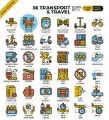Transport logistic & Travel outline icons modern style for website or print illustration