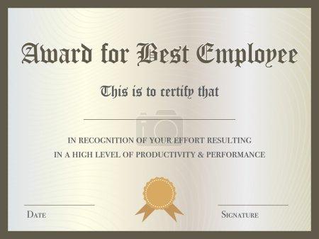 Illustration for Illustration of Certificate Award for Best Employee - Royalty Free Image