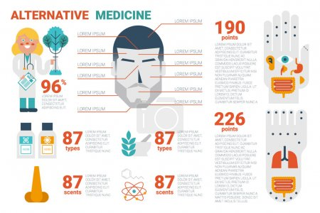 Illustration for Illustration of alternative medicine infographic concept with icons and elements - Royalty Free Image