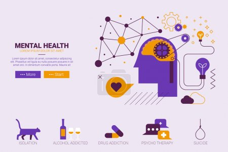 Illustration for Flat design illustration of mental health and depression concept with icons - Royalty Free Image