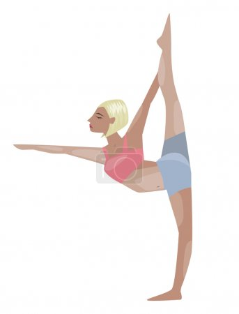 Vector illustrated poster template with blonde girl doing yoga exercises, good for yoga studio, yoga class, yoga center.